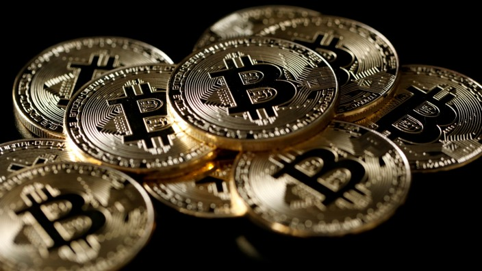 FILE PHOTO: A collection of bitcoin (virtual currency) tokens are displayed in this picture illustration