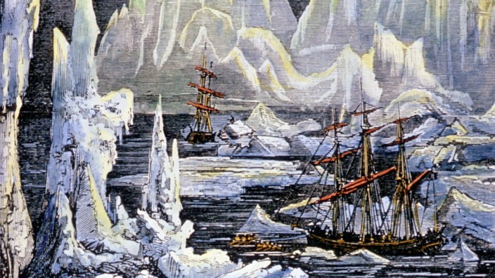 Strange Phenomena The ships Erebus and Terror amidst the ice flows Wood engraving as illustration