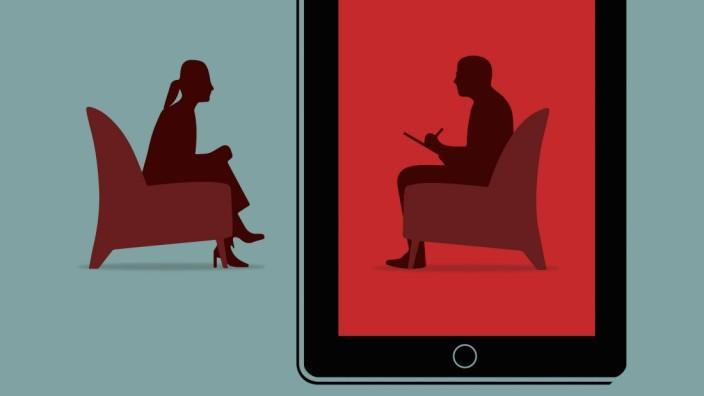 Frau benutzt ein Tablet und bekommt eine Therapie über das Internet PUBLICATIONxINxGERxSUIxAUTxONLY Copyright: xNickxLow
