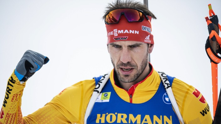 210217 Arnd Peiffer of Germany celebrates after competing in Men s 15 km Individual Competition during the IBU Biathlon