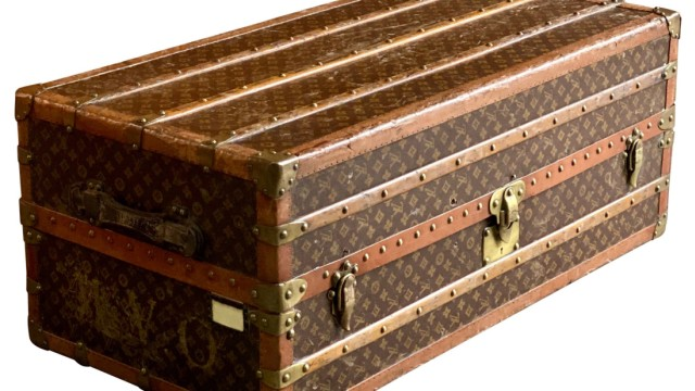 Louis Vuitton Steamer Trunk Wardrobe Trunk Chest France Circa 1920