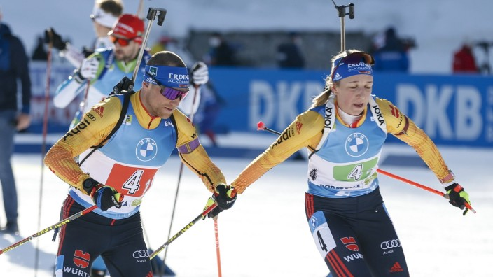 Erik Lesser, Germany, Franziska Preuss, Germany competes in the Single Mixed Relay (M+W) Competition during the Biathlo