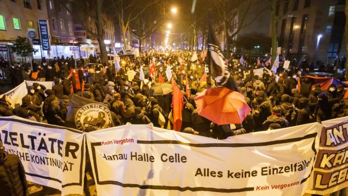 Demonstration zum Gedenken an den Anschlag von Hanau