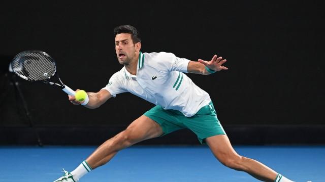 TENNIS AUSTRALIAN OPEN, Novak Djokovic of Serbia in action during his Men s singles semifinals match against Aslan Kara