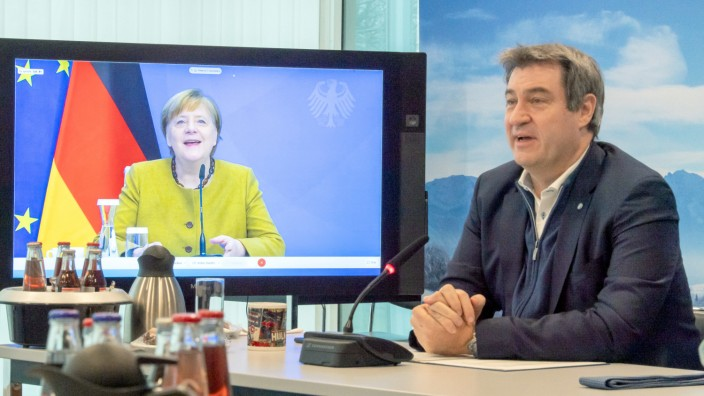Videokonferenz Merkel und Söder