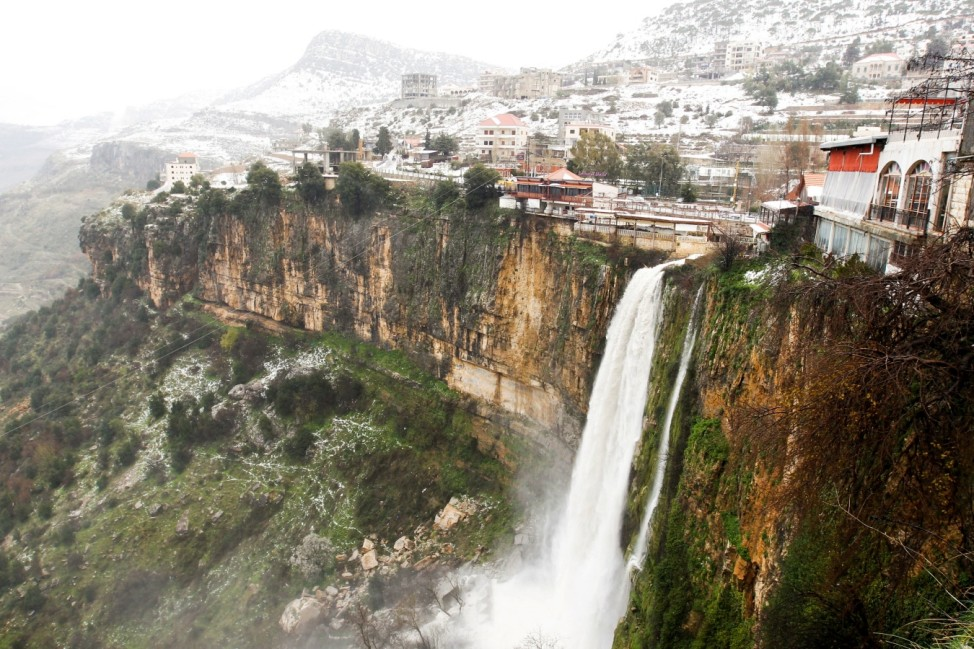 A view shows snow covered town of Jezzine