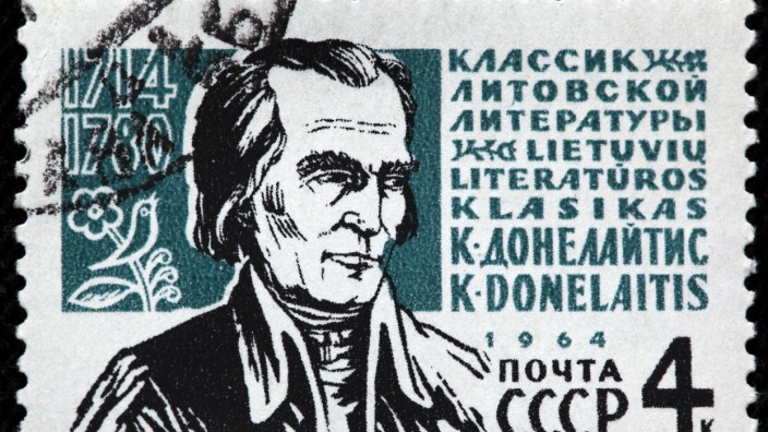Kristijonas Donelaitis, Christian Donalitius (1714-1780), Lithuanian poet, Lutheran pastor, postage stamp, Russia, USSR, 1964. (Ivan Vdovin)