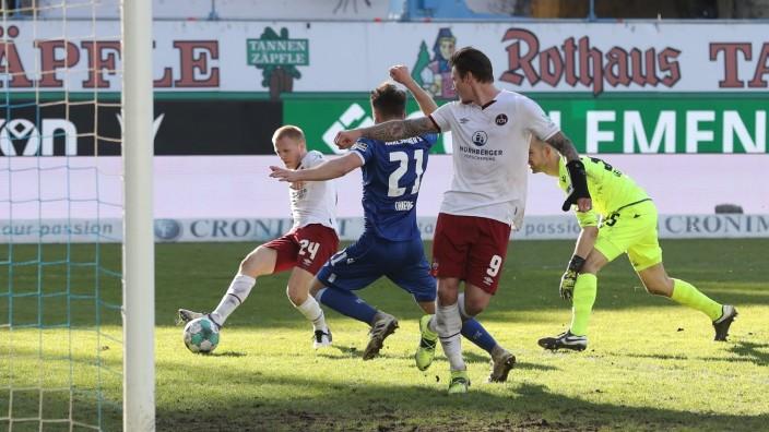 21.02.2021 - Fussball - Saison 2020 2021 - 2. Fussball - Bundesliga - 22. Spieltag: Karlsruher SC KSC - 1. FC Nürnberg F; 1. FC Nürnberg