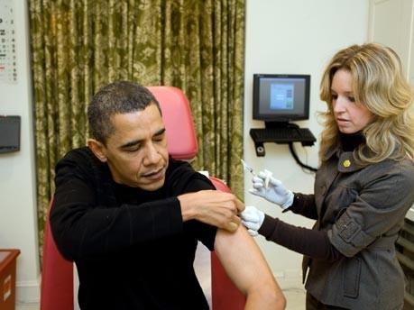 Barack Obama beim Impfen;AP