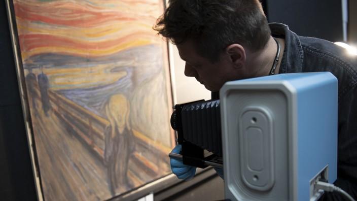 """Bleistift-Schriftzug auf """"Der Schrei"""" stammt von Edvard Munch selbst"""