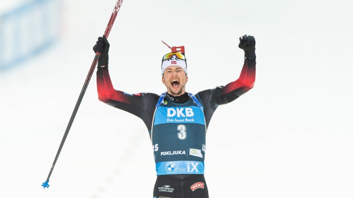 Sport Bilder des Tages 210221 Sturla Holm Laegreid of Norway celebrates after winning the Men s 15 km Mass Start during