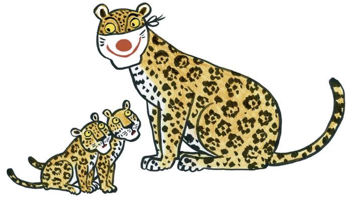 Illustration aus Rotraut Susanne Berner: Einhorn, Bär und Nachtigall tanzen auf dem Maskenball