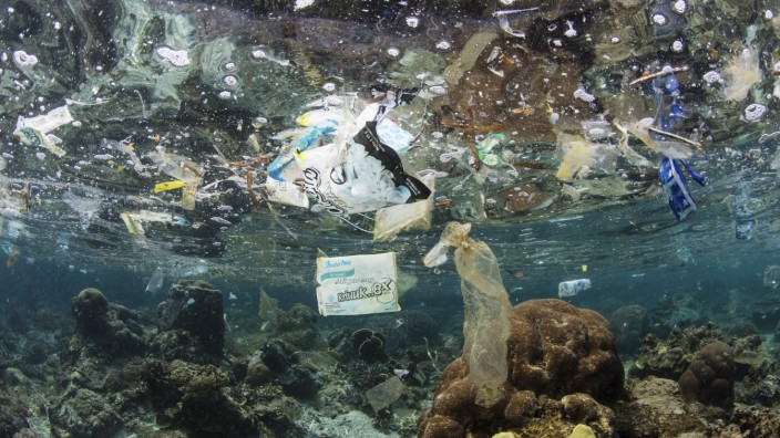 Discarded plastic bags and other trash float above a shallow coral reef in Raja Ampat, Indonesia. Plastics have become a