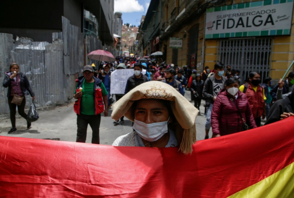 Protest against new government COVID-19 measures, in La Paz