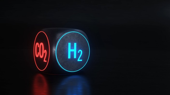 H2 Hydrogen CO2 H2 is the future and helps to reduce CO2 emissions. 3d illustration.
