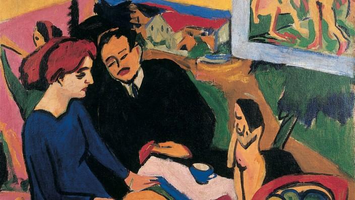 Ernst Ludwig Kirchner:  Erich Heckel und Dodo im Atelier, 1910/11