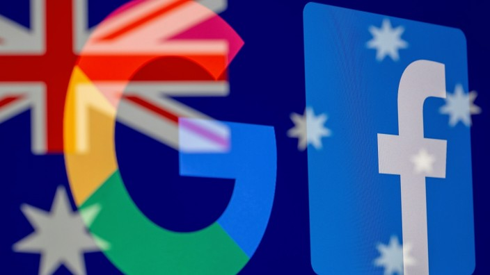 FILE PHOTO: Google and Facebook logos and Australian flag are displayed in this illustration photo