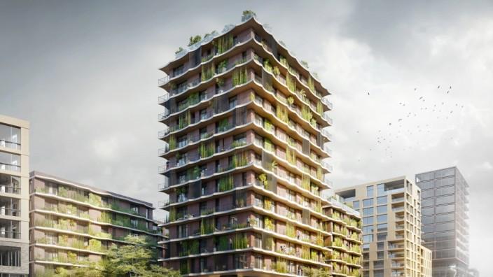 Visualisierung: Moringa-Hochhaus in der Hamburger Hafencity