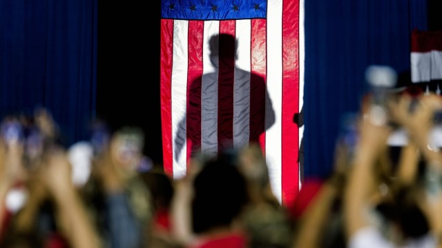 Sept.16, 2019 - Rio Rancho, New Mexico, U.S. - President DONALD TRUMP is seen in shadow behind the A