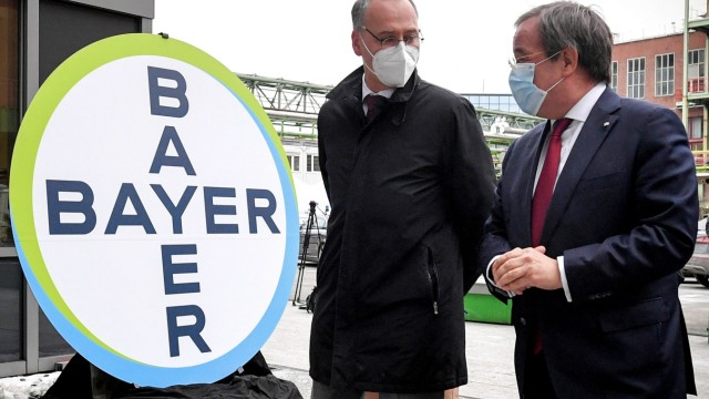 NRW PM Laschet and Bayer CEO Baumann visit future production site of CureVac's vaccine in Wuppertal