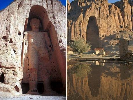 Reuters; im Bild: links eine der Statuen von Bamiyan, rechts ein Bild nach der Sprengung
