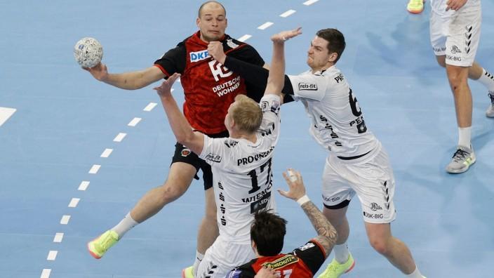 28.2.2021, Handball, Herren, 1.BL, Saison 2020/2021, THW Kiel - Füchse Berlin in Kiel Paul Drux ( Berlin , 95 ) im Zwei