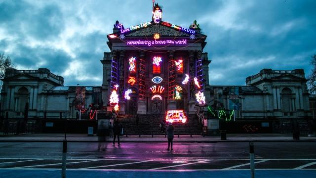 London Feb 16th 2021 Neon light installation Remembering A Brave New World , by British artist Chila Kumari Singh Burma