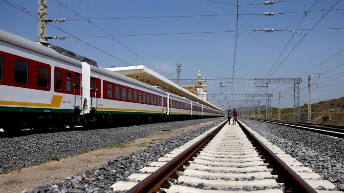 FILE PHOTO: Children walk at the Adama train station of Oromia region during a media guided tour of the Ethio-Djibouti Railways route in Adama, Ethiopia