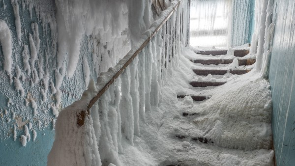 Russia's Vorkuta covered with ice and snow