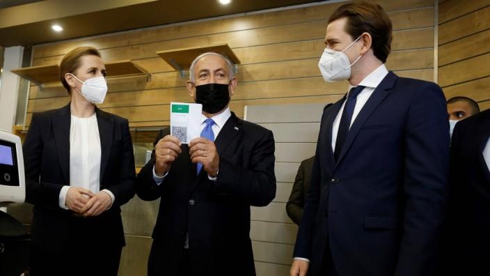 Statsminister Mette Frederiksen, den israelske premierminister Benjamin Netanyahu og den oestrigske kansler, Sebastian K