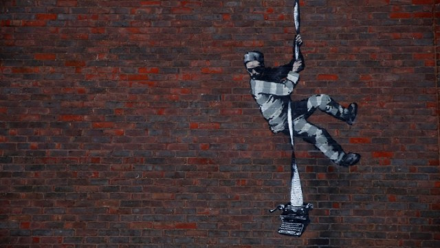 A suspected new mural by artist Banksy on a wall at HM Reading Prison