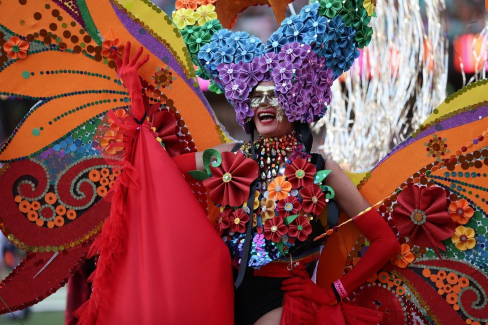 A participant celebrates the Gay and Lesbian Mardi Gras Parade in Sydney