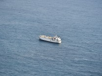 Livestock ship 'Karim Allah' is seen at sea near Cartagena, in Spain