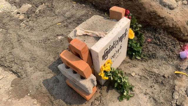 A grave of 19-year-old protester, Kyal Sin, is pictured in Mandalay