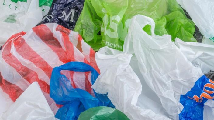Multiple plastic shopping bags