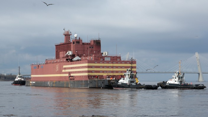 The floating nuclear power plant 'Akademik Lomonosov' is seen being towed to Murmansk for nuclear fuel loading, in St. Petersburg