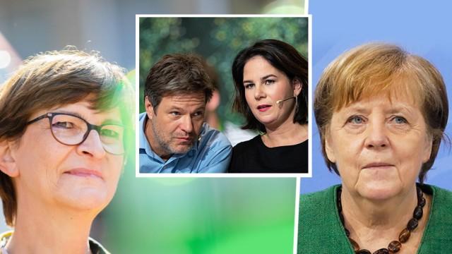 Politik in Deutschland: Saskia Esken (SPD), Robert Habeck, Annalena Baerbock (beide Die Grünen) und Angela Merkel (CDU)