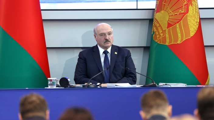 Belarusian President Alexander Lukashenko attends a meeting with members of the National Olympic Committee in Minsk