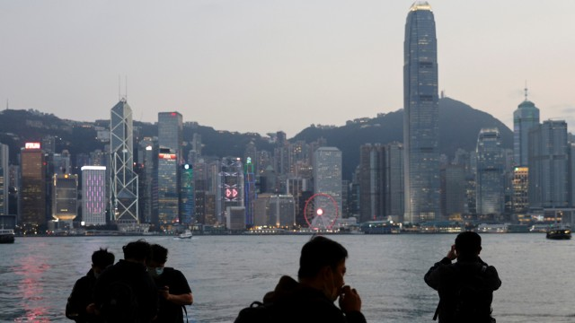 General view of the Central financial district during sunset, in Hong Kong
