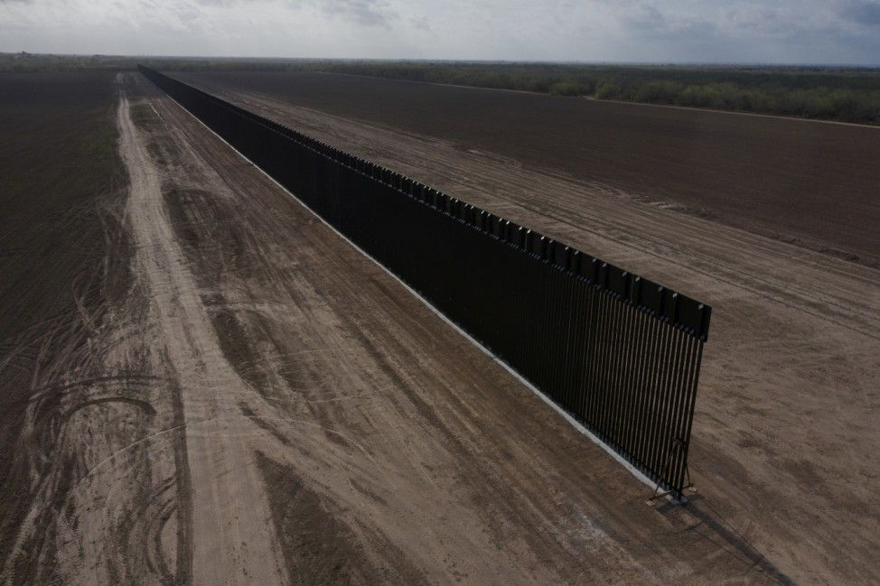 Parts of the border wall lies unfinished in La Joya, Texas,