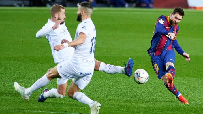 March 15, 2021, Barcelona, Spain: Lionel Messi of FC Barcelona, Barca score a goal during the Liga match between FC Bar