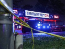 Crime scene tape is seen outside Aromatherapy Spa after shootings at a massage parlor and two day spas in the Atlanta area, in Georgia