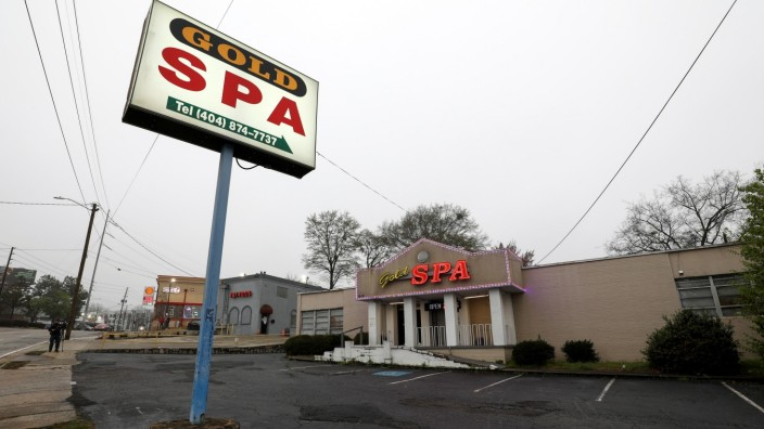 A view of the Gold Spa after deadly shootings at three day spas, in Atlanta