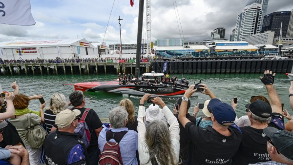 16th March 2021; Waitemata Harbour, Auckland, New Zealand; Emirates Team New Zealand fans cheer Te Rehutai as it leaves