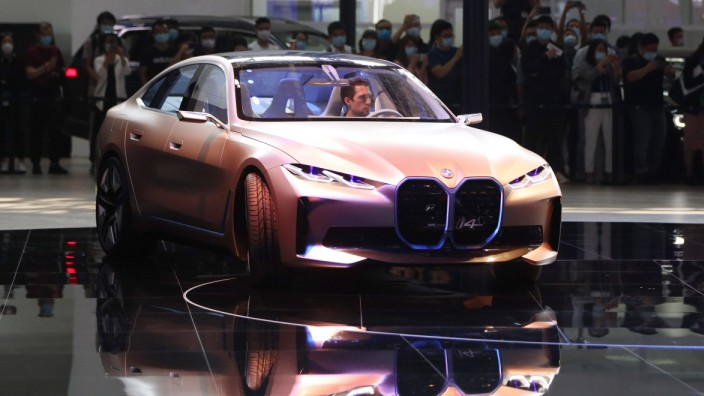 BEIJING, CHINA - SEPTEMBER 26: A BMW i4 concept car is on display during 2020 Beijing International Automotive Exhibitio