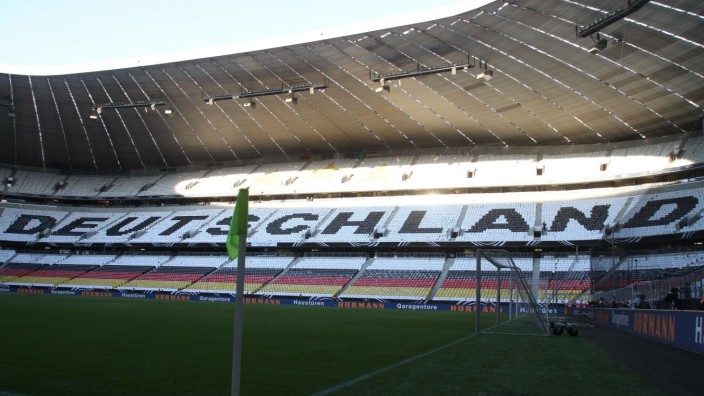 Schriftzug Deutschland im Stadion / Fussball / Allianz Arena München / Quali FIFA WM 2013 Länderspiel Deutschland / 06.
