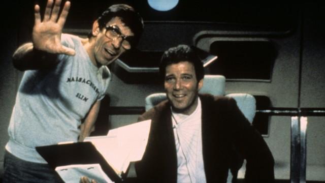 Off camera while filming Star Trek Leonard Nimoy and William Shatner United States Copyright Topfo