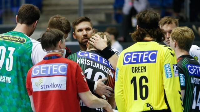 21.03.2021, xgox, Handball LIQUI MOLY HBL, SC Magdeburg - Fuechse Berlin emspor, v.l. Gisli Thorgeir Kristjansson (Magd