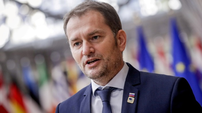FILE PHOTO: Slovak Prime Minister Igor Matovic arrives for an EU summit in Brussels