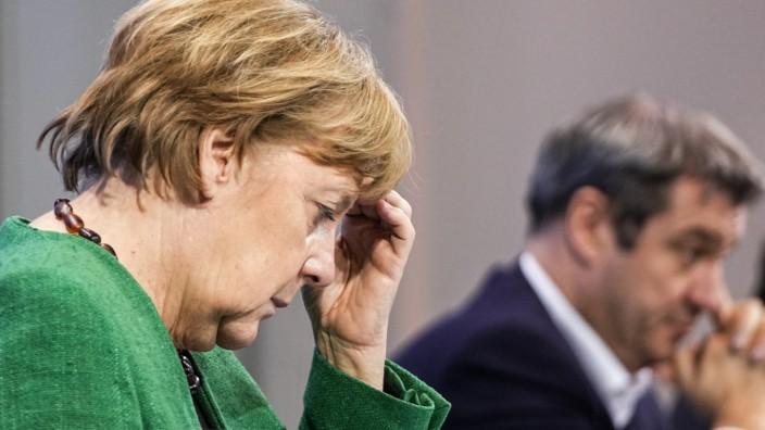 Coronavirus in Deutschland: Merkel und Söder nach einem Corona-Gipfel